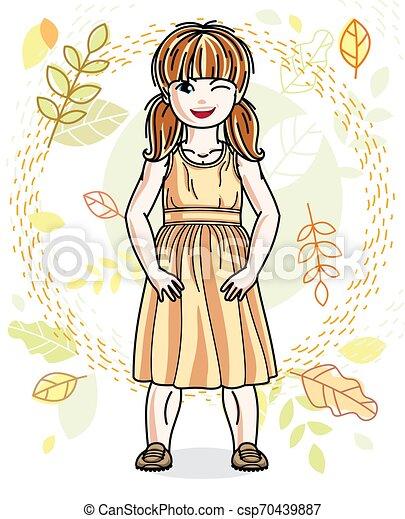 desgastar, cute, pequeno, na moda, vermelho-haired, character., clothes., outono, vetorial, posar, fundo, menina, casual, paisagem, feliz - csp70439887