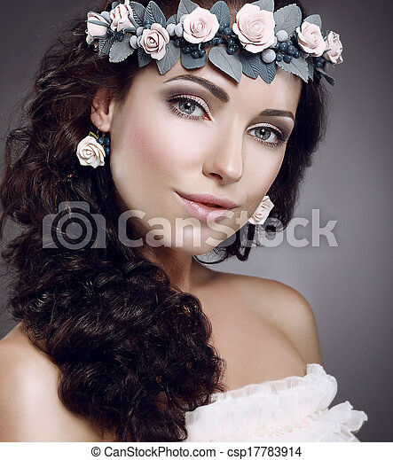 desgastar, cutie, fascinante, grinalda, attractiveness., perfection., flores - csp17783914