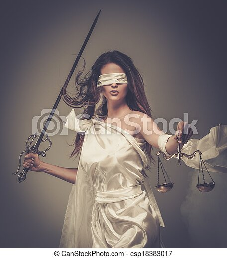 desgastar, deusa, femida, justiça, escalas, espada, blindfold - csp18383017
