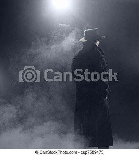 desgastar, ficar, mulher, agasalho, trincheira, nevoeiro - csp7589475