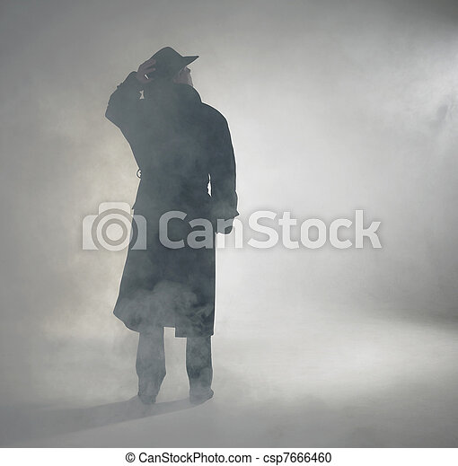 desgastar, ficar, mulher, agasalho, trincheira, nevoeiro - csp7666460