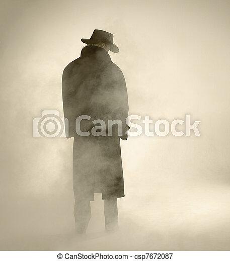 desgastar, ficar, mulher, agasalho, trincheira, nevoeiro - csp7672087