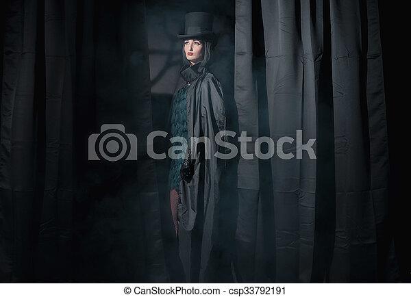 desgastar, ficar, mulher, feiticeira, entre, moda, pretas, hat., capa, curtains. - csp33792191