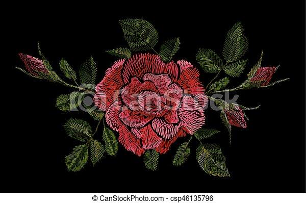 Desgastar Flor Pescoco Etnico Desenho Moda Bordado Graficos