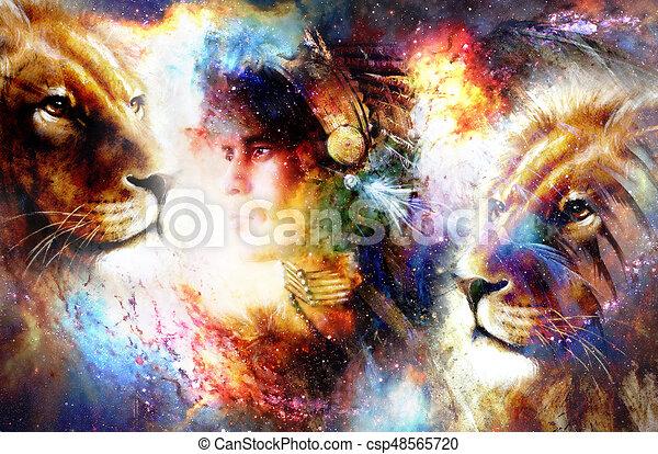 Desgastar guerreira lion. cósmico jovem experiência. indianas