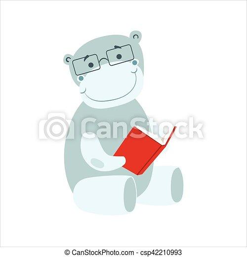 desgastar, hipopótamo, animais, biblioteca, personagem, bookworm, jardim zoológico, livro, ilustração, cobrança, parte, leitura, sorrindo, caricatura, óculos - csp42210993