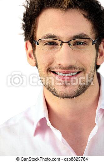 desgastar, homem, jovem, óculos - csp8823784