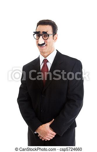 desgastar, isolado, groucho, fundo, homem negócios, sorrindo, branca, óculos - csp5724660