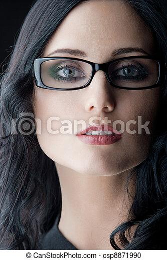 desgastar, morena, óculos - csp8871990
