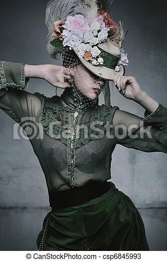 desgastar, mulher, antigas, beleza, formado, vestido - csp6845993