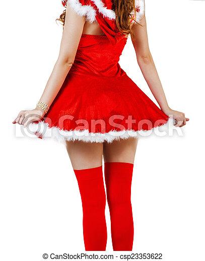 desgastar, mulher, claus, santa, vestido, natal, vermelho - csp23353622