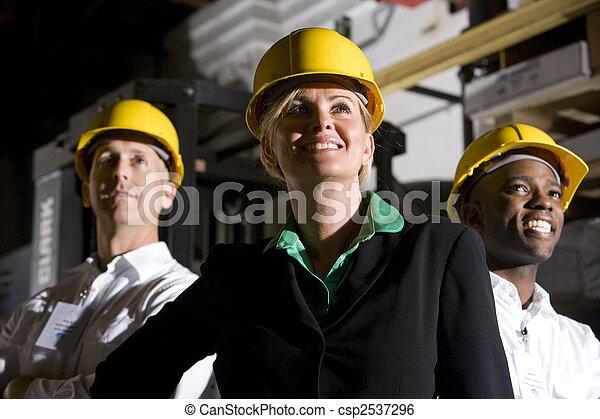 desgastar, trabalhadores escritório, difícil, armazenamento, armazém, chapéus - csp2537296