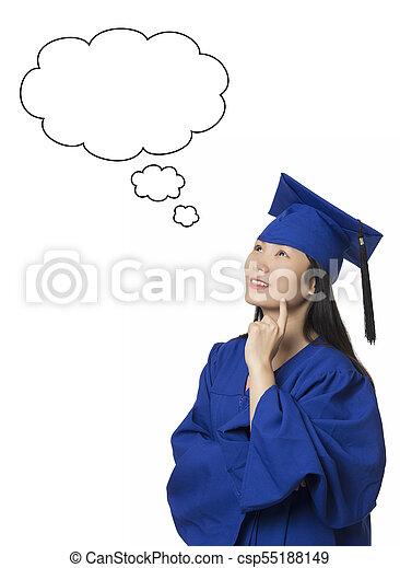 desgastar, vestido, mulher, isolado, pensamento fundo, graduação, fundo, branca, asiático - csp55188149