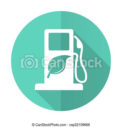 desgn, błękitne tło, biofuel, ikona, koło, cień, płaski, długi, biały - csp32109668