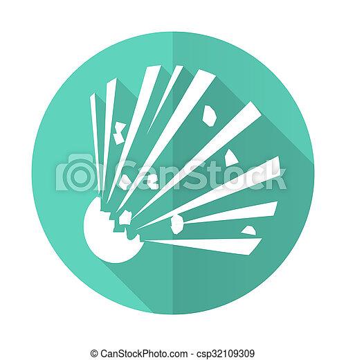 desgn, błękitne tło, bomba ikona, koło, cień, płaski, długi, biały - csp32109309