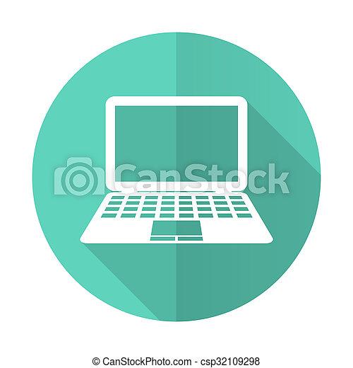 desgn, błękitne tło, komputerowa ikona, koło, cień, płaski, długi, biały - csp32109298