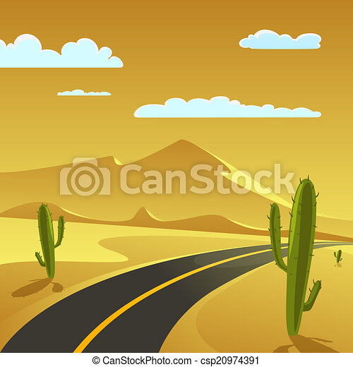 Grficos vectoriales EPS de desierto camino  Desert Landscape