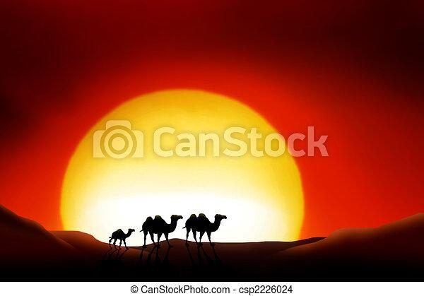 Dibujo de desierto de sahara  solitario Animals en un ocaso