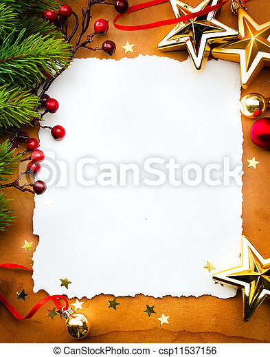 Design a Christmas greeting card with white paper on a red background - csp11537156