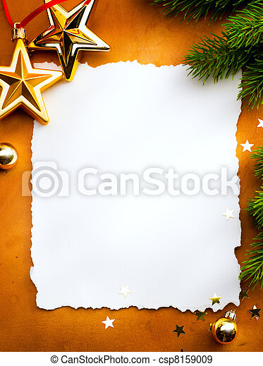Design a Christmas greeting card with white paper on a red background - csp8159009