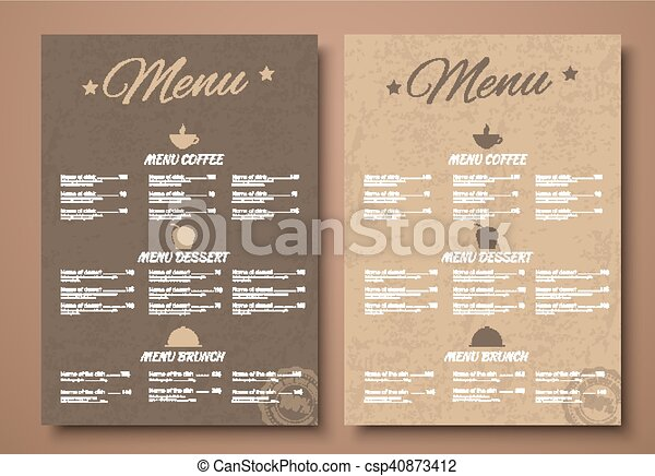 Design a menu for the cafe, shops or caffeine in a retro style - csp40873412