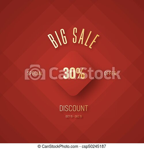 Design a red banner for a big sale and a discount with a flying rhombus - csp50245187