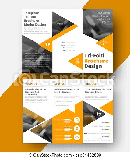 design a white vector tri fold brochure with yellow triangles for