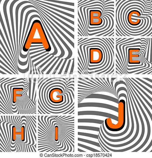 Design alphabet letters from A to J. Striped waving line textured font. Vector-art illustration - csp18570424