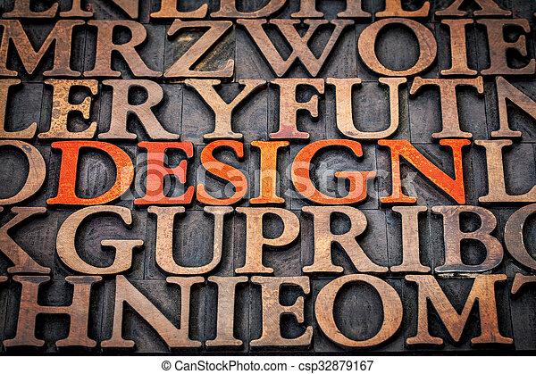 design concept in wood type - csp32879167