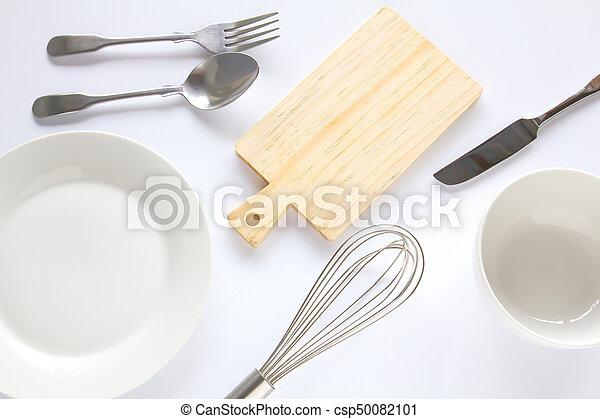 Design concept of mockup various kitchenware utensils set on white background. - csp50082101