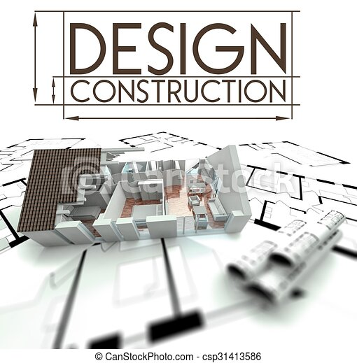 Design construction with project of house on blueprints - csp31413586