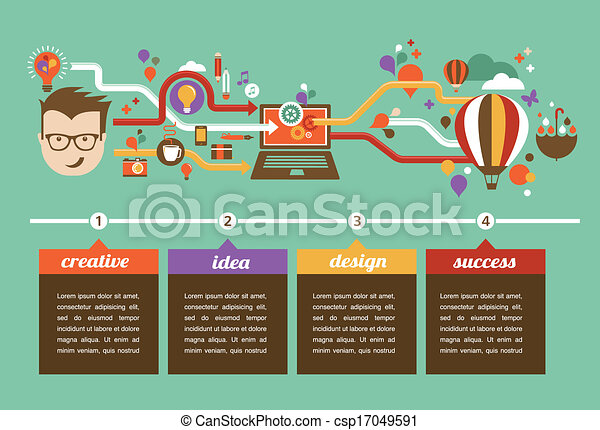 Design, creative, idea and innovation infographic - csp17049591