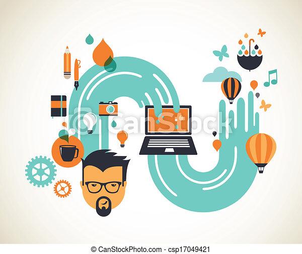 Design, creative, idea and innovation concept - csp17049421