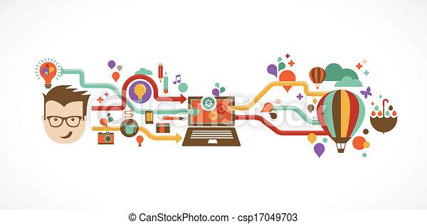 Design, creative, idea and innovation infographic - csp17049703