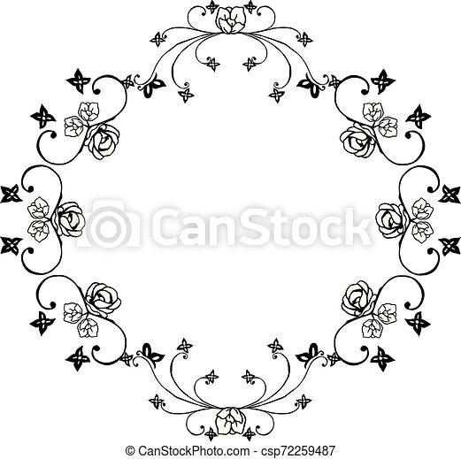 Design Element For Invitation Card Greeting Card With Flower Frame Black White Isolated On White Background Vector