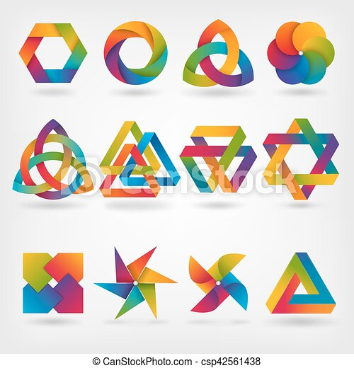 design elements. abstract symbol set in rainbow colors - csp42561438