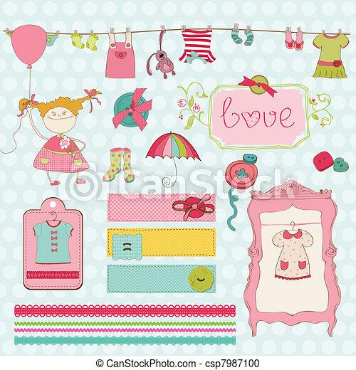 Design Elements For Baby Scrapbook Baby Girl Wardrobe Vector