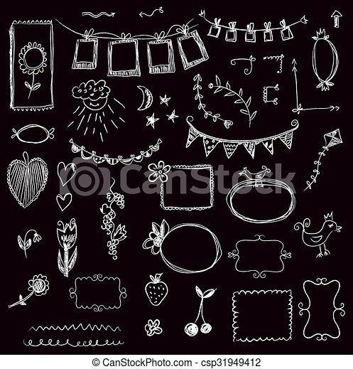 Design elements - frames, florals, swirls on the chalkboard - csp31949412