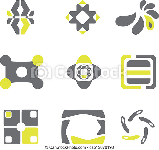 Design elements in grey and green colors - csp13878193