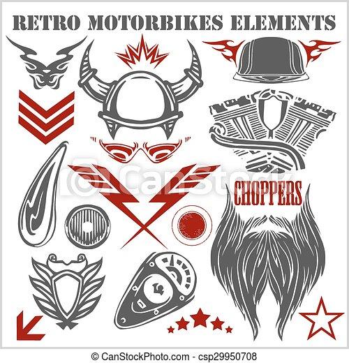 Design elements on white background for vintage motorbikes - vector set. - csp29950708