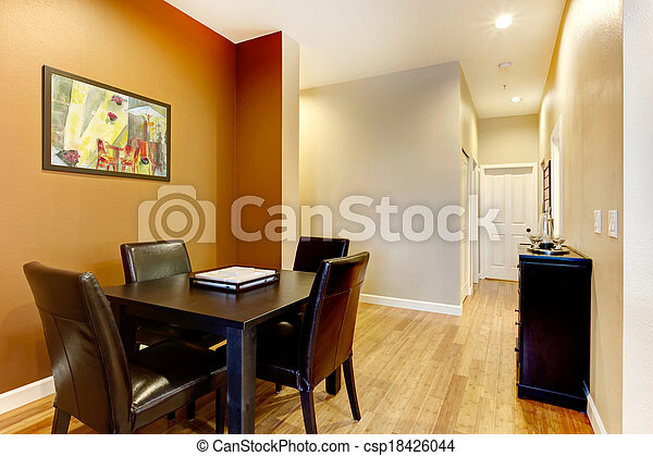 Design Idea For Dining Area Open Wall Design Idea For Small Dining Area Furnished With Black Dining Table Set And Cabinet