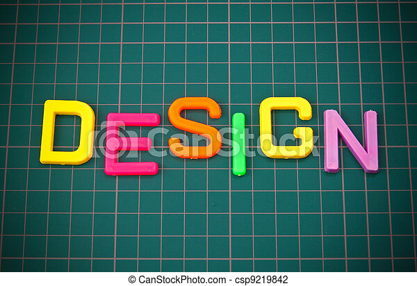 Design in colorful toy letters oncutting mate - csp9219842