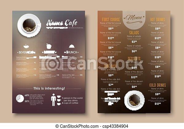 Design menus for a restaurant, cafe or coffeehouse A4