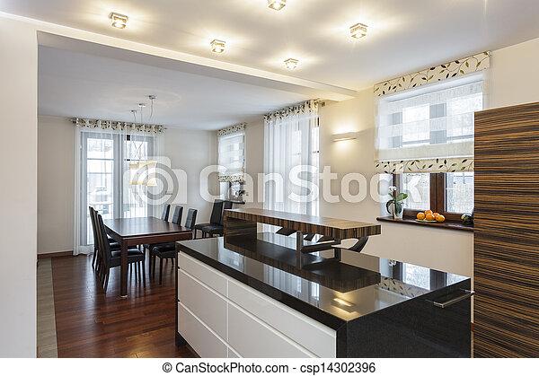 Grosses Design - moderne Küche - csp14302396