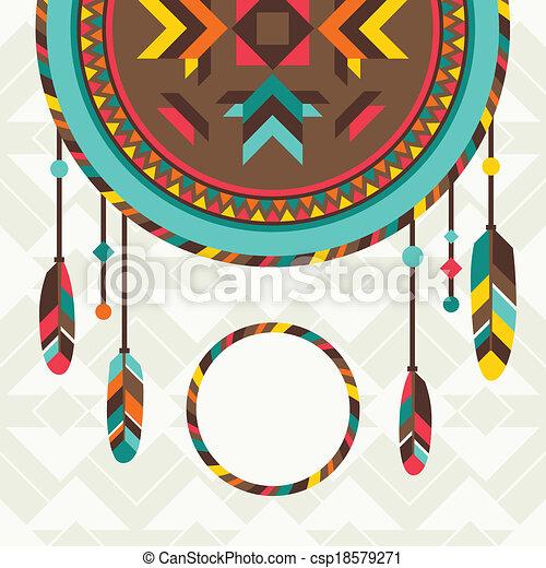 Antecedente étnico con atrapasueños en diseño navajo. - csp18579271