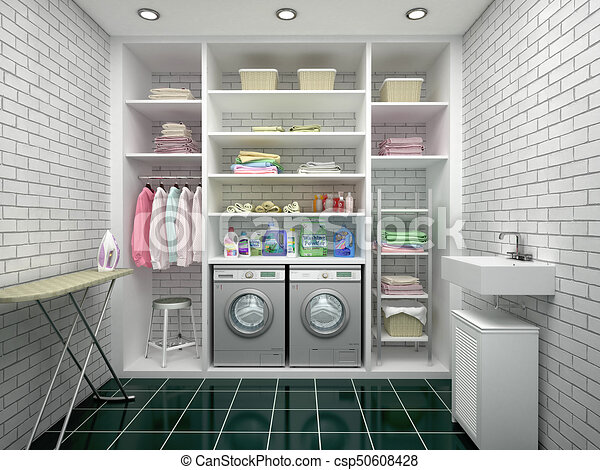 Design of a laundry room with white shelves 3d illustration clip