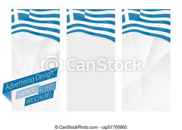 design of banners flyers brochures with flag of greece leaflet