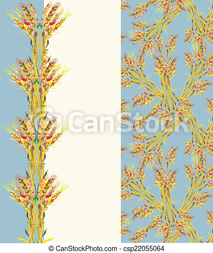 Design of blank for agricultural business - wheat pattern and web elements layout - csp22055064