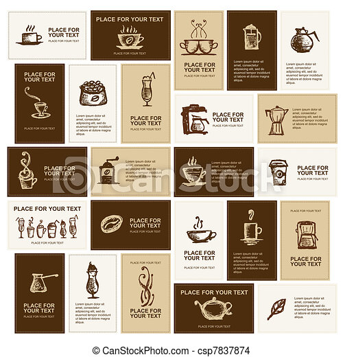 Design of business cards for coffee company  - csp7837874