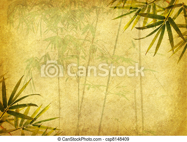 design of chinese bamboo trees with texture of handmade paper - csp8148409